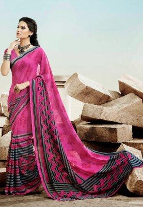 Diffusion Aesthetic Magenta Printed Saree