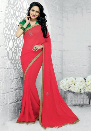 Diffusion Aesthetic Red Embroidered Saree