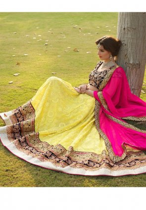 Diffusion Aesthetic Yellow Lehenga Choli