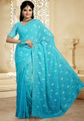 Diffusion Alluring Aqua Blue Embroidered Saree