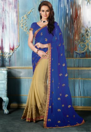 Diffusion Alluring Beige And Blue Embroidered Saree