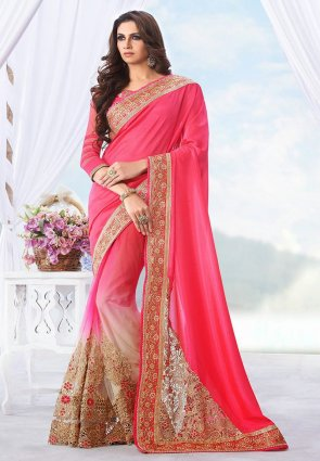 Diffusion Alluring Beige And Deep Pink Embroidered Saree