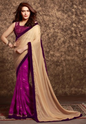 Diffusion Alluring Beige And Deep Purple Embroidered Saree