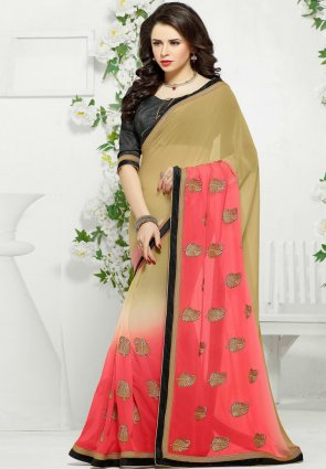 Diffusion Alluring Beige And Deep Scarlet Red Embroidered Saree
