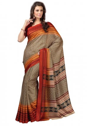 Diffusion Alluring Beige And Orange Printed Saree