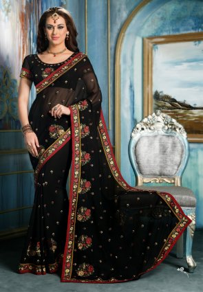 Diffusion Alluring Black Embroidered Saree