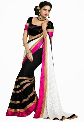 Diffusion Alluring Black And White Embroidered Saree