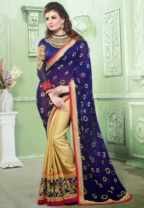 Diffusion Alluring Blue And Cream Embroidered Saree
