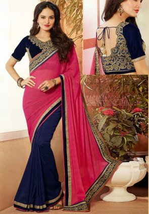 Diffusion Alluring Blue And Pink Embroidered Saree
