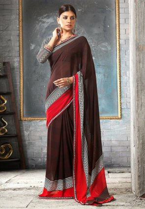 Diffusion Alluring Brown Embroidered Saree