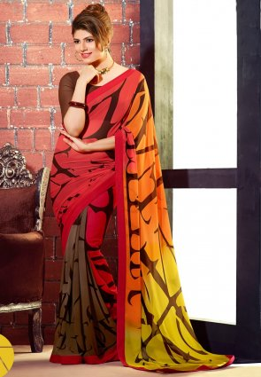 Diffusion Alluring Brown And Yellow Printed Saree