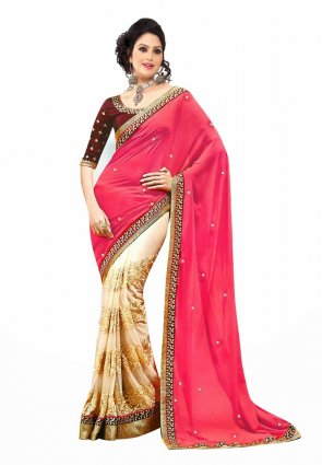 Diffusion Alluring Buttercream And Pink Embroidered Saree