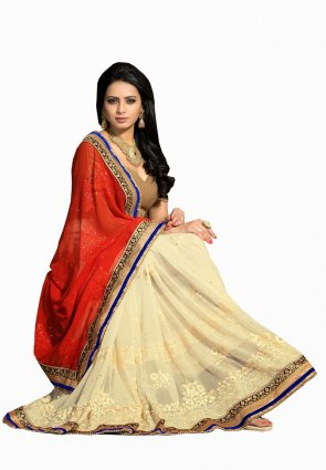Diffusion Alluring Buttercream And Red Embroidered Saree