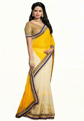 Diffusion Alluring Buttercream And Yellow Embroidered Saree