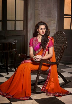 Diffusion Alluring Deep Deep Orange Embroidered Saree