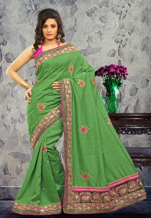 Diffusion Alluring Deep Mint Green Embroidered Saree