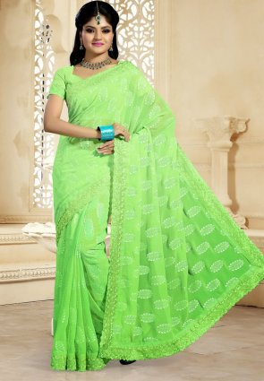 Diffusion Alluring Lime Green Embroidered Saree