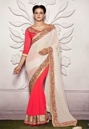 Diffusion Alluring Off White  And  Red Embroidered Saree