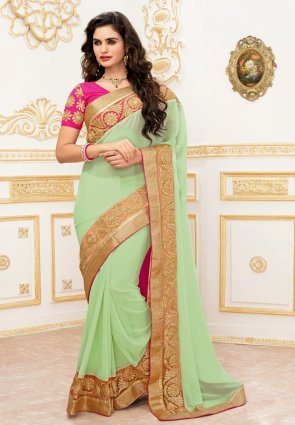 Diffusion Alluring Pale Mint Green Embroidered Saree