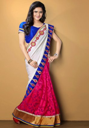 Diffusion Alluring Pink And White Embroidered Saree