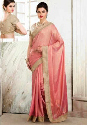 Diffusion Alluring Rose Pink Embroidered Saree