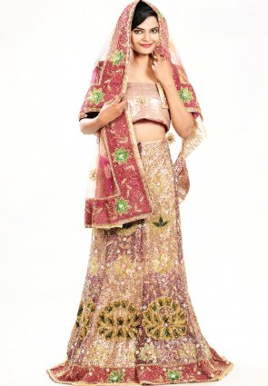 Diffusion Attractive Beige Brown And Tomato Chaniya Choli