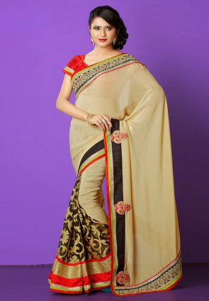Diffusion Attractive Beige And Black Embroidered Saree
