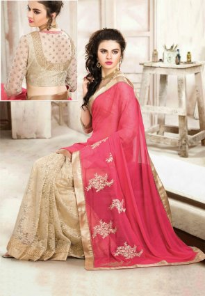Diffusion Attractive Beige And Pink Embroidered Saree