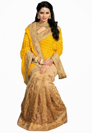 Diffusion Attractive Beige And Yellow Embroidered Saree