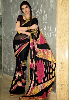 Diffusion Attractive Black And Yellow Printed Saree