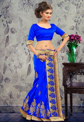 Diffusion Attractive Blue Embroidered Saree