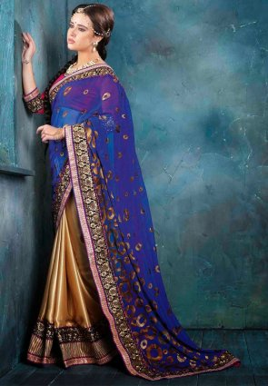 Diffusion Attractive Blue And Gold Color Embroidered Saree