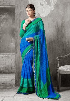 Diffusion Attractive Blue And Jade Green Embroidered Saree