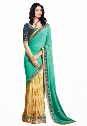 Diffusion Attractive Buttercream And Greenish Blue Embroidered Saree