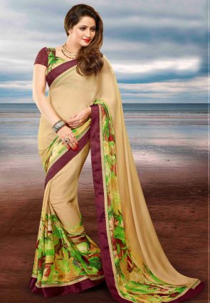 Diffusion Attractive Cream Embroidered Saree