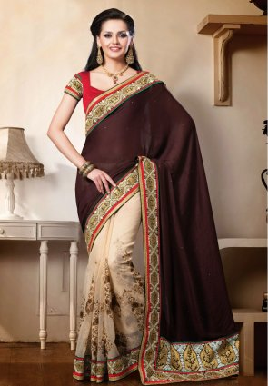 Diffusion Attractive Deep Saddle Brown And Pale Rosy Brown Embroidered Saree