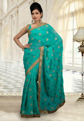 Diffusion Attractive Greenish Blue Embroidered Saree