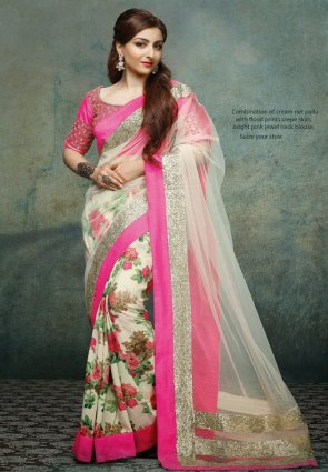 Diffusion Attractive Ivory Embroidered Saree