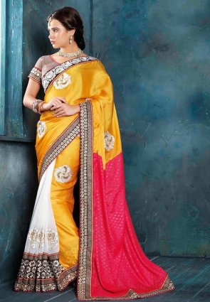 Diffusion Attractive Pink And Yellow Embroidered Saree