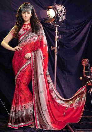 Diffusion Attractive Red Embroidered Saree