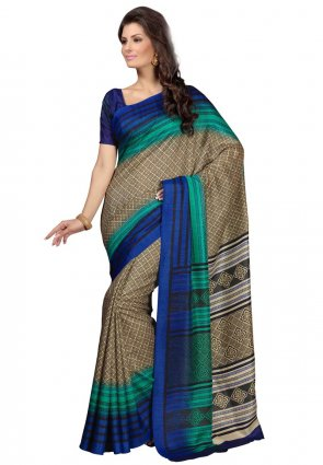 Diffusion Butta Beige And Cyan Blue Printed Saree