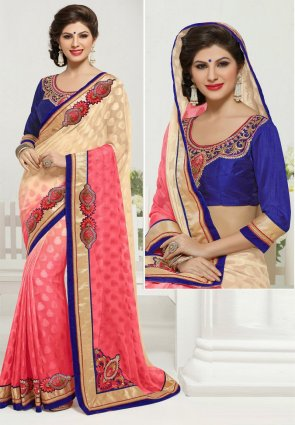 Diffusion Butta Buttercream And Salmon Embroidered Saree