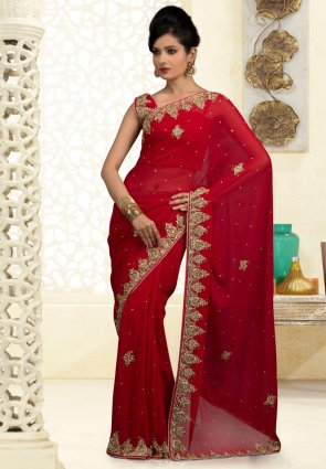 Diffusion Butta Crimson Embroidered Saree