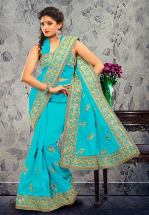 Diffusion Butta Cyan Blue Embroidered Saree