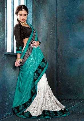 Diffusion Butta Cyan Blue And White Embroidered Saree