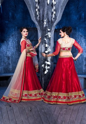 Diffusion Butta Dark Red Wine Lehenga Choli