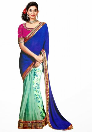 Diffusion Butta Deep Cyan Blue And Blue Embroidered Saree