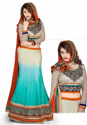 Diffusion Butta Deep Greenish Blue And Beige Lehenga Choli