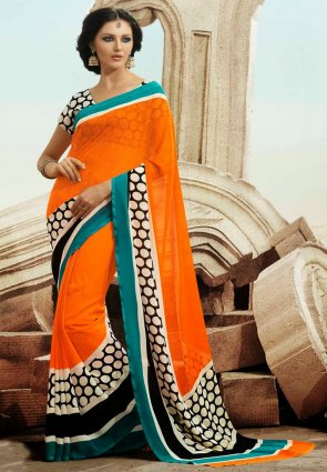 Diffusion Butta Deep Orange Printed Saree
