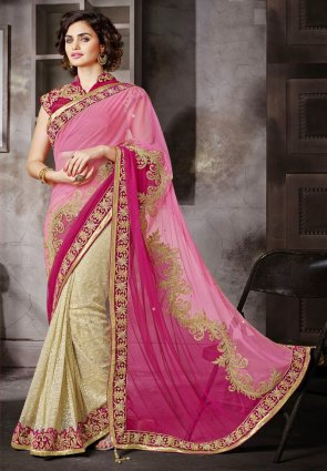 Diffusion Butta Deep Rose Pink And Pink Embroidered Saree